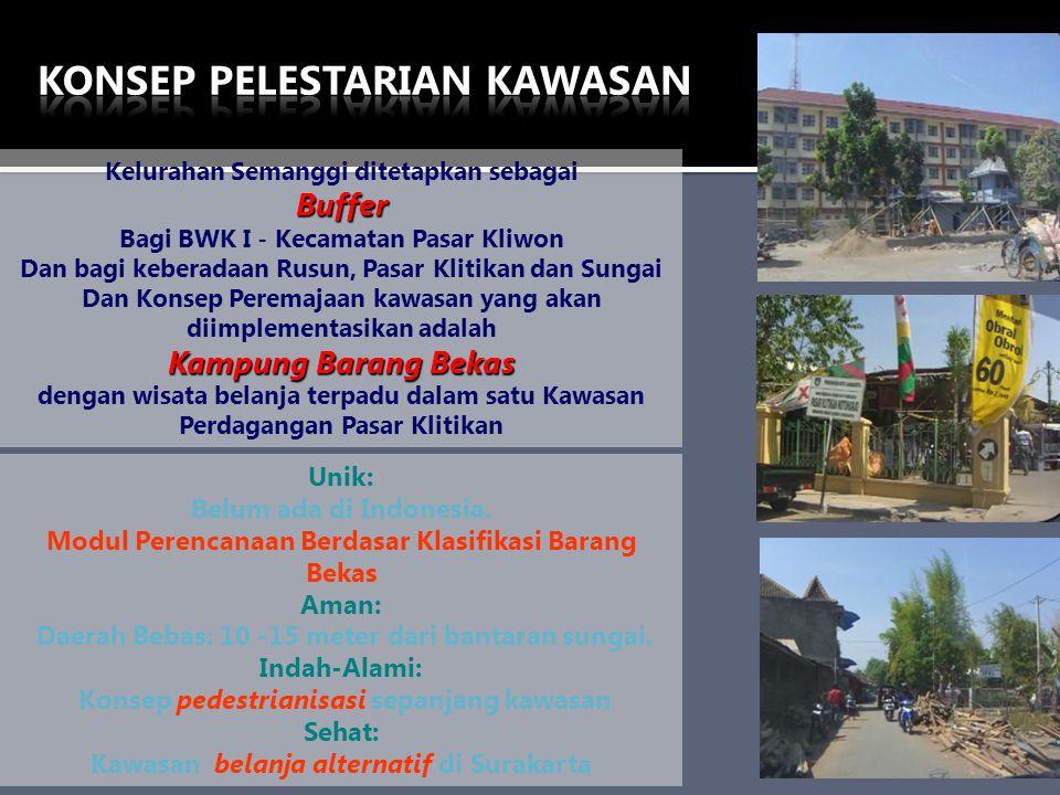 Kelurahan Semanggi ditetapkan sebagaiBuffer Bagi BWK I - Kecamatan Pasar Kliwon Dan bagi keberadaan Rusun, Pasar Klitikan dan Sungai Dan Konsep Perema
