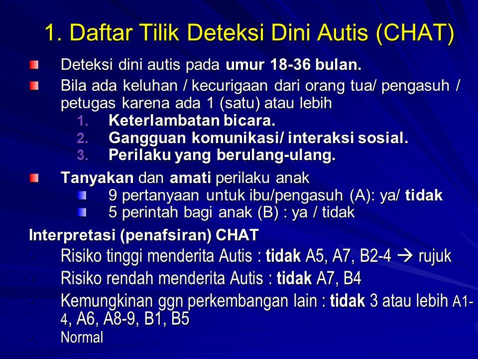 1. Daftar Tilik Deteksi Dini Autis (CHAT) Deteksi dini autis pada umur 18-36 bulan. Bila ada keluhan / kecurigaan dari orang tua/ pengasuh / petugas k