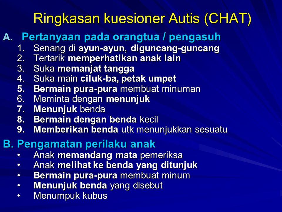Ringkasan kuesioner Autis (CHAT) A. Pertanyaan pada orangtua / pengasuh 1.Senang di ayun-ayun, diguncang-guncang 2.Tertarik memperhatikan anak lain 3.