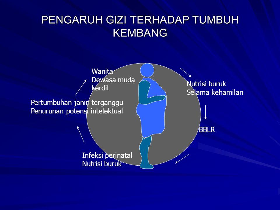 ZAT- ZAT GIZI YANG MEMPENGARUHI TUMBUH KEMBANG ANAK KEP Ibu yang KEP BBLR kematian Ibu yang KEP BBLR kematian kerusakan SSP kerusakan SSP Kekurangan Fe,asam folat dan vitamin B12 (Anemia gizi) kematian janin di dalam kandungan,abortus,cacat bawaan,BBLR,dLL Defisiensi Yodium (I) Kretin,abortus,lahir mati, Kretin,abortus,lahir mati, Defisiensi seng ( Zn) pertumbuhan janin terhambat baru akan kelihatan pada masa pertumbuhan cepat,partus lama pertumbuhan janin terhambat baru akan kelihatan pada masa pertumbuhan cepat,partus lama Defisiensi Vitamin A meningkatnya prevalensi prematuritas dan retardasi janin meningkatnya prevalensi prematuritas dan retardasi janin Defisiensi Thiamin beri – beri kongenital beri – beri kongenital Defisiensi Kalsium (ca) kelainan struktur tulang secara menyeluruh pada bayi kelainan struktur tulang secara menyeluruh pada bayi EPA,DHA EPA,DHA perkembangan SSP perkembangan SSP