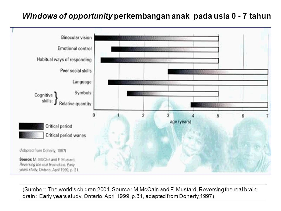 Windows of opportunity perkembangan anak pada usia 0 - 7 tahun (Sumber : The world's chidren 2001, Source : M.McCain and F. Mustard, Reversing the rea