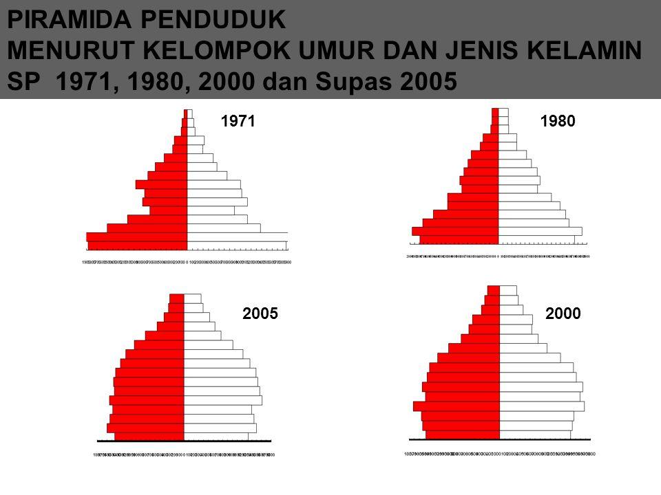 PIRAMIDA PENDUDUK MENURUT KELOMPOK UMUR DAN JENIS KELAMIN SP 1971, 1980, 2000 dan Supas 2005 19711980 20002005