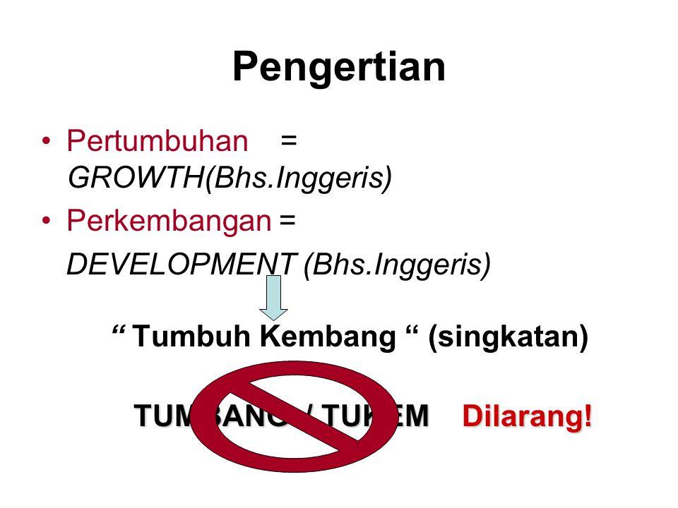 Pengertian Pertumbuhan = GROWTH(Bhs.Inggeris) Perkembangan = DEVELOPMENT (Bhs.Inggeris) Tumbuh Kembang (singkatan) TUMBANG / TUKEM Dilarang!