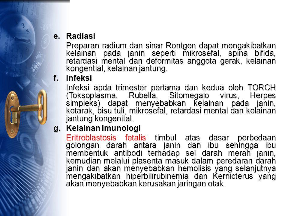 e.Radiasi Preparan radium dan sinar Rontgen dapat mengakibatkan kelainan pada janin seperti mikrosefal, spina bifida, retardasi mental dan deformitas