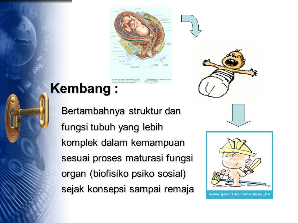 Kembang : Bertambahnya struktur dan fungsi tubuh yang lebih komplek dalam kemampuan sesuai proses maturasi fungsi organ (biofisiko psiko sosial) sejak