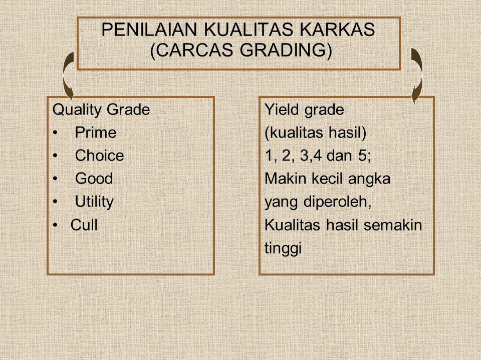 PENILAIAN KUALITAS KARKAS (CARCAS GRADING) Quality Grade Prime Choice Good Utility Cull Yield grade (kualitas hasil) 1, 2, 3,4 dan 5; Makin kecil angk