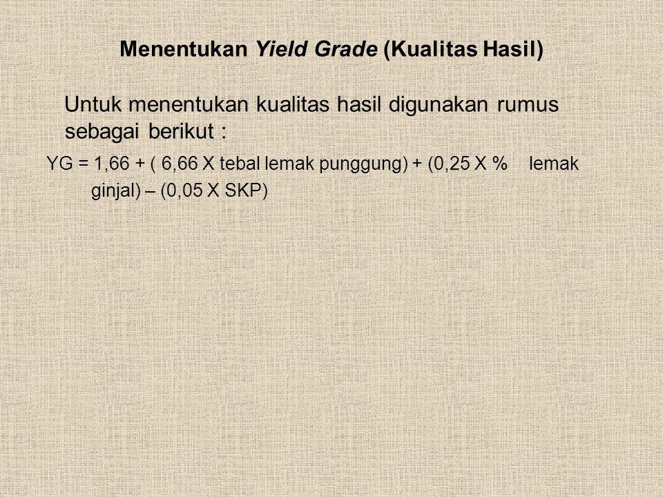 Menentukan Yield Grade (Kualitas Hasil) Untuk menentukan kualitas hasil digunakan rumus sebagai berikut : YG = 1,66 + ( 6,66 X tebal lemak punggung) +