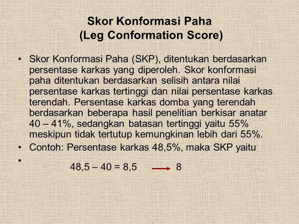Skor Konformasi Paha (Leg Conformation Score) Skor Konformasi Paha (SKP), ditentukan berdasarkan persentase karkas yang diperoleh. Skor konformasi pah