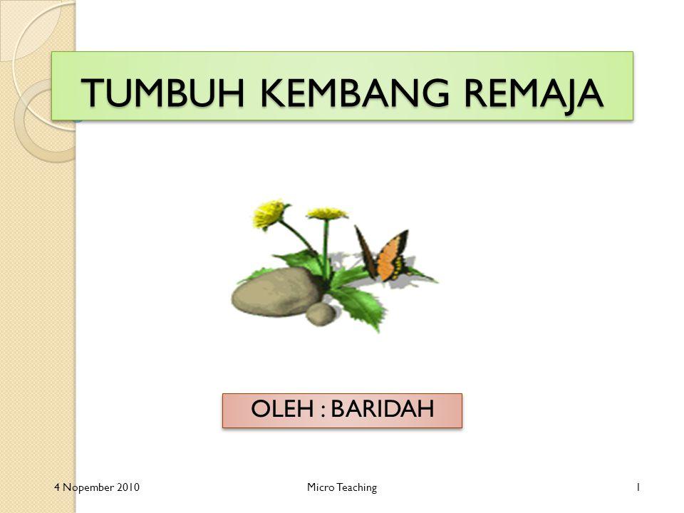 TUMBUH KEMBANG REMAJA OLEH : BARIDAH 4 Nopember 2010Micro Teaching1