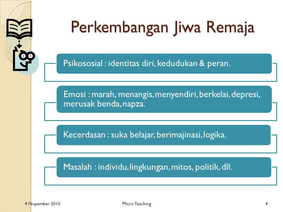 Perkembangan Jiwa Remaja Psikososial : identitas diri, kedudukan & peran.