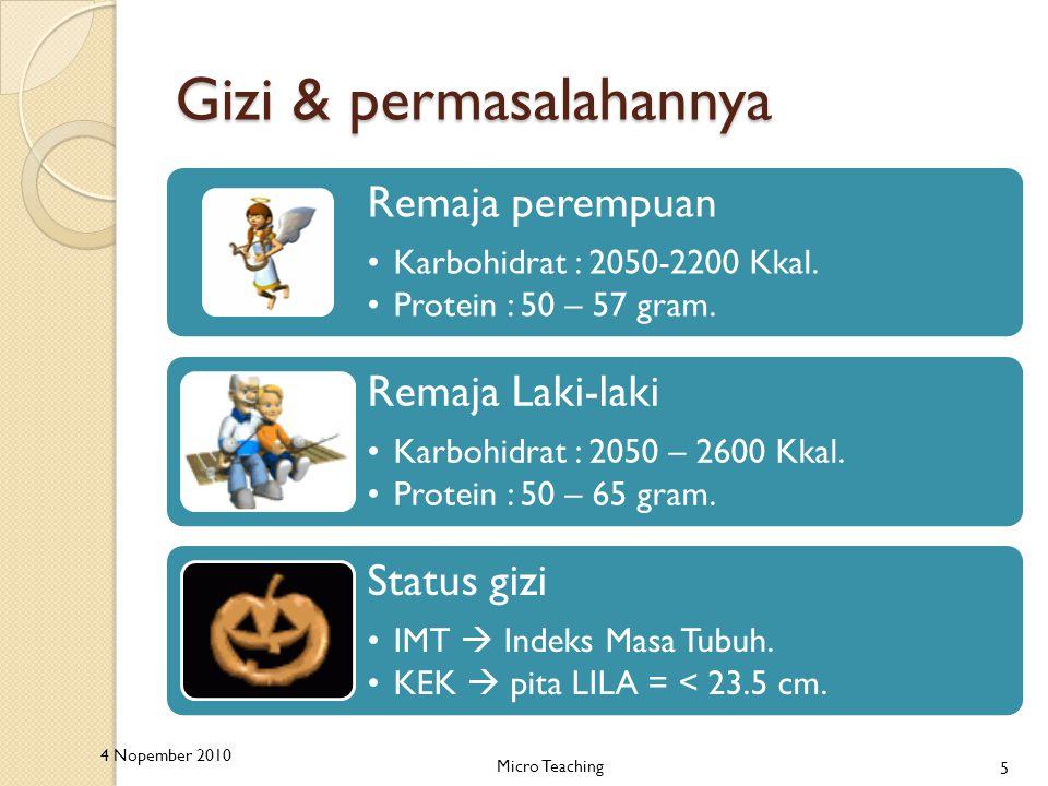 Gizi & permasalahannya Remaja perempuan Karbohidrat : 2050-2200 Kkal.
