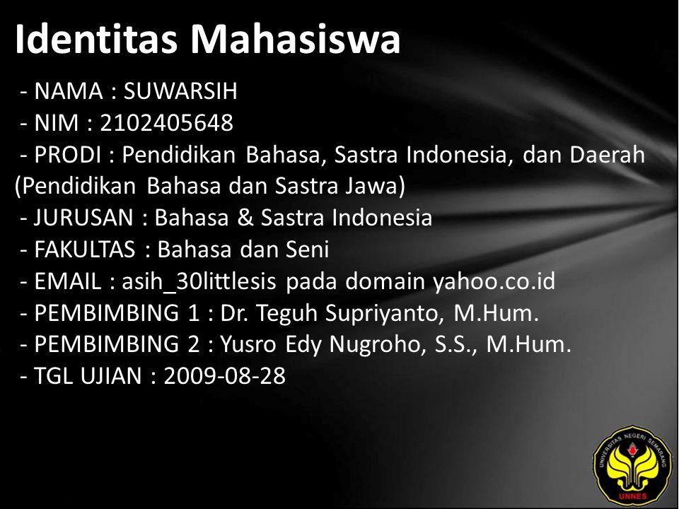 Identitas Mahasiswa - NAMA : SUWARSIH - NIM : 2102405648 - PRODI : Pendidikan Bahasa, Sastra Indonesia, dan Daerah (Pendidikan Bahasa dan Sastra Jawa)