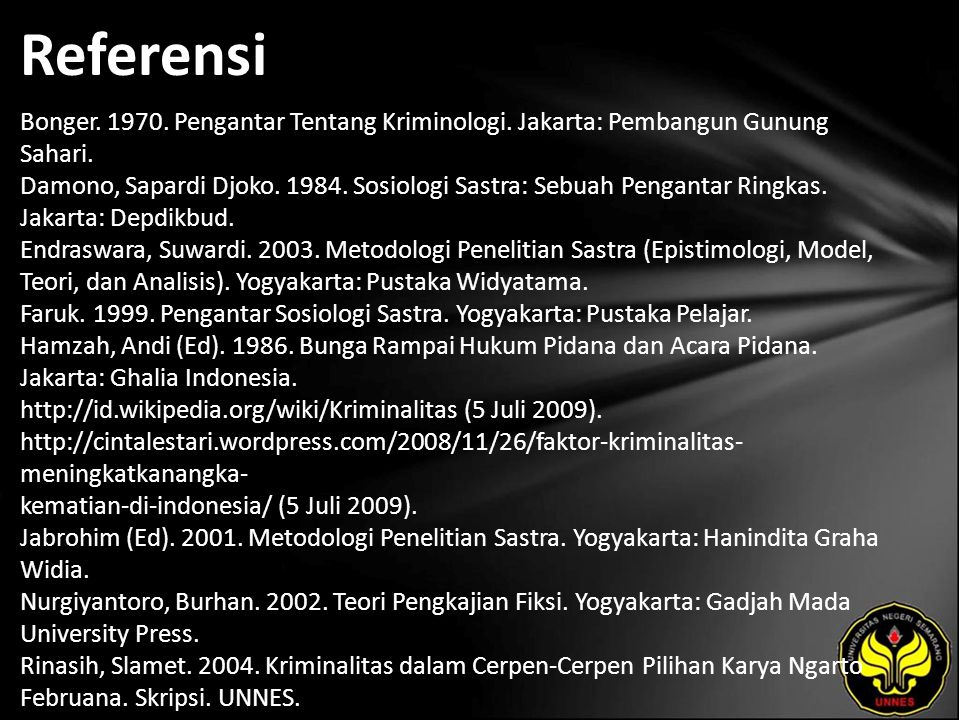 Referensi Bonger. 1970. Pengantar Tentang Kriminologi. Jakarta: Pembangun Gunung Sahari. Damono, Sapardi Djoko. 1984. Sosiologi Sastra: Sebuah Pengant