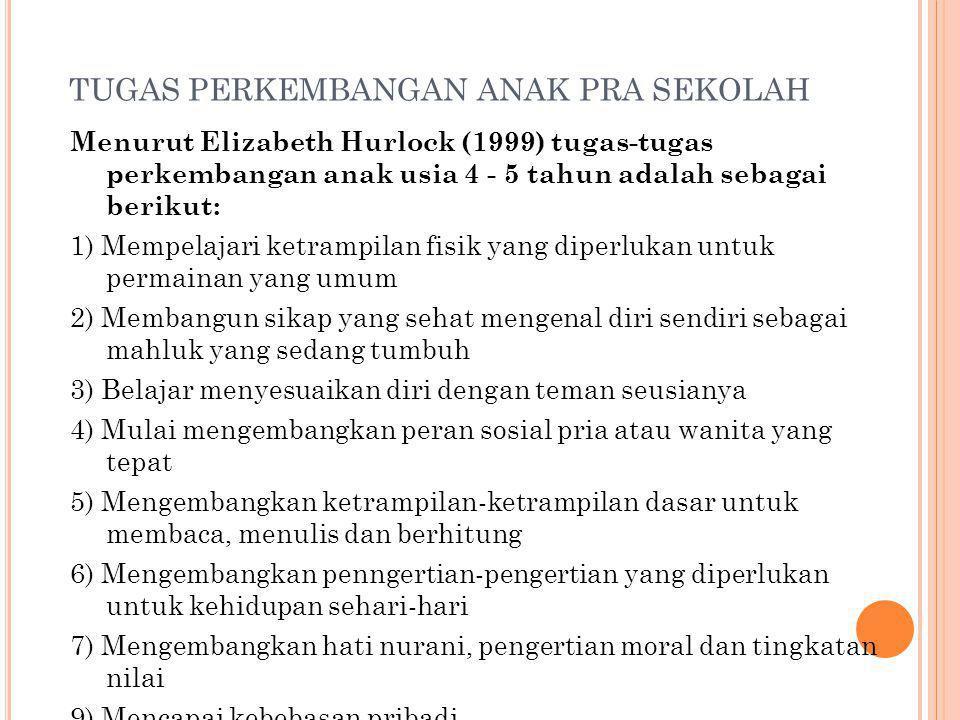 TUGAS PERKEMBANGAN ANAK PRA SEKOLAH Menurut Elizabeth Hurlock (1999) tugas-tugas perkembangan anak usia 4 - 5 tahun adalah sebagai berikut: 1) Mempela