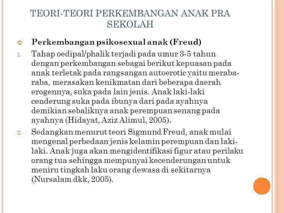 TEORI-TEORI PERKEMBANGAN ANAK PRA SEKOLAH Perkembangan psikosexual anak (Freud) 1. Tahap oedipal/phalik terjadi pada umur 3-5 tahun dengan perkembanga