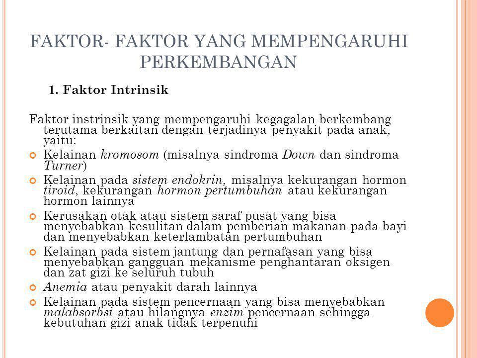 FAKTOR- FAKTOR YANG MEMPENGARUHI PERKEMBANGAN 1. Faktor Intrinsik Faktor instrinsik yang mempengaruhi kegagalan berkembang terutama berkaitan dengan t