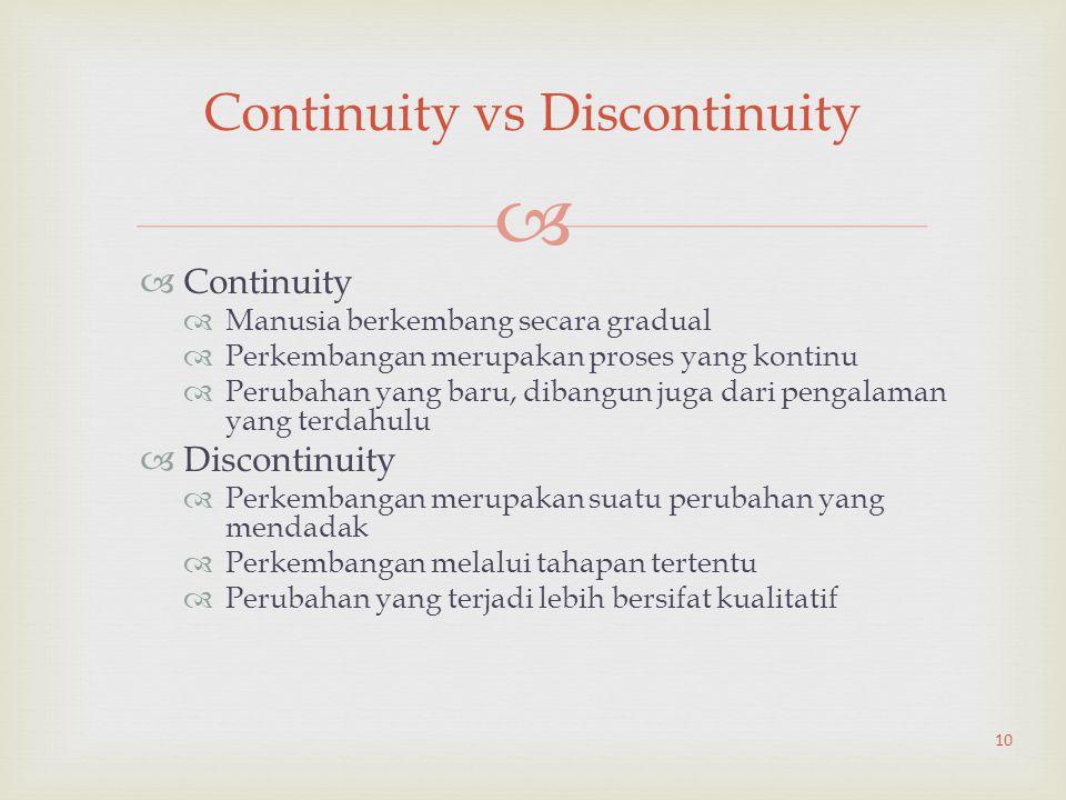   Continuity  Manusia berkembang secara gradual  Perkembangan merupakan proses yang kontinu  Perubahan yang baru, dibangun juga dari pengalaman y