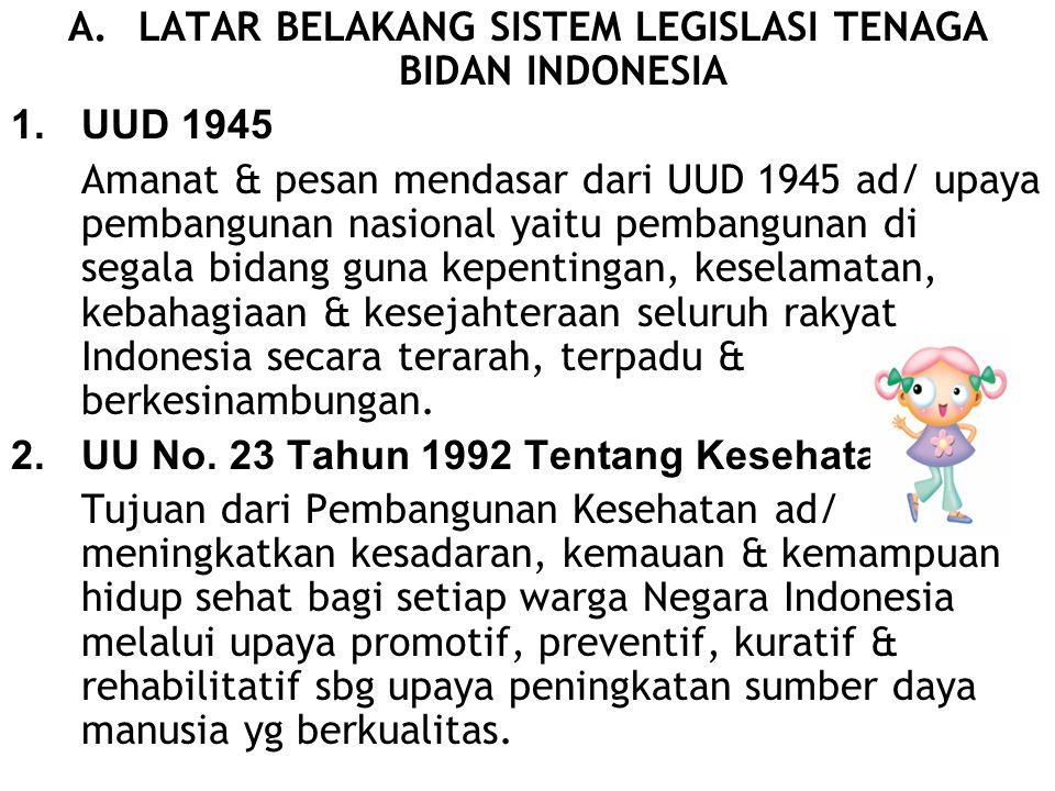 A.LATAR BELAKANG SISTEM LEGISLASI TENAGA BIDAN INDONESIA 1.UUD 1945 Amanat & pesan mendasar dari UUD 1945 ad/ upaya pembangunan nasional yaitu pembang