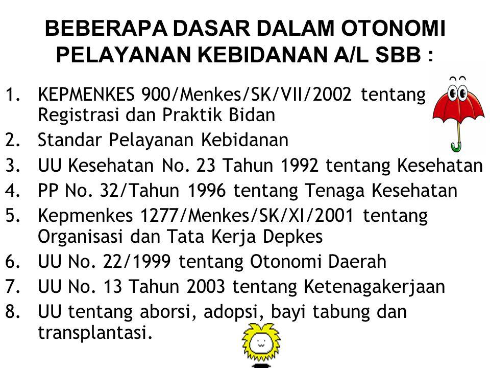 BEBERAPA DASAR DALAM OTONOMI PELAYANAN KEBIDANAN A/L SBB : 1.KEPMENKES 900/Menkes/SK/VII/2002 tentang Registrasi dan Praktik Bidan 2.Standar Pelayanan