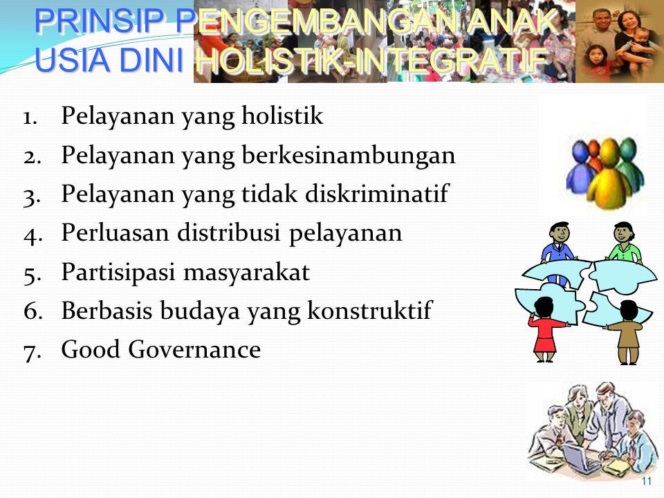 PRINSIP PENGEMBANGAN ANAK USIA DINI HOLISTIK-INTEGRATIF 1.Pelayanan yang holistik 2.Pelayanan yang berkesinambungan 3.Pelayanan yang tidak diskriminat
