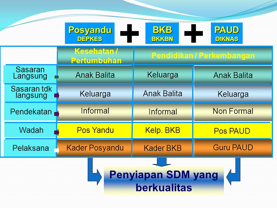 Guru PAUD Kader BKB Kelp. BKB Non Formal Informal Keluarga Anak Balita Keluarga Pos PAUD Pendidikan / Perkembangan + Penyiapan SDM yang berkualitas BK