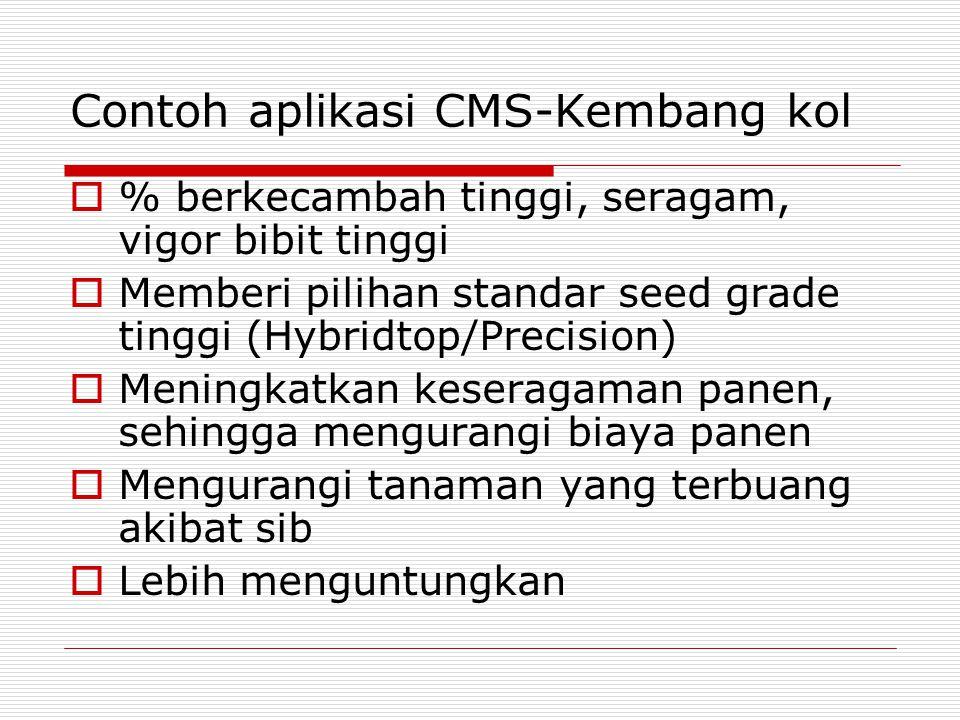 Contoh aplikasi CMS-Kembang kol  % berkecambah tinggi, seragam, vigor bibit tinggi  Memberi pilihan standar seed grade tinggi (Hybridtop/Precision)