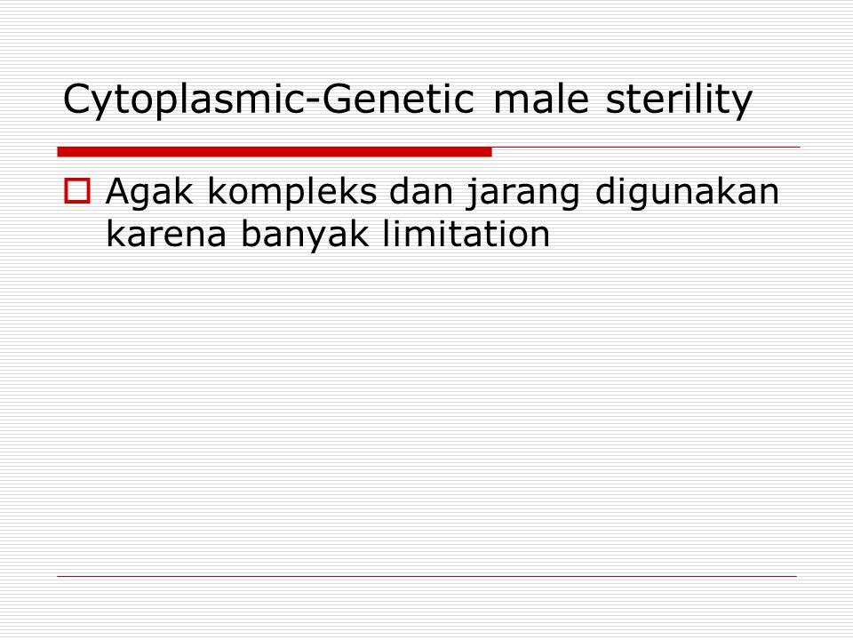 Cytoplasmic-Genetic male sterility  Agak kompleks dan jarang digunakan karena banyak limitation