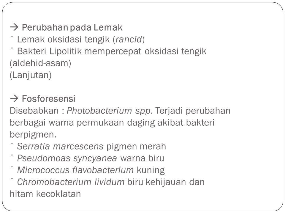 Perubahan pada Lemak ¨ Lemak oksidasi tengik (rancid) ¨ Bakteri Lipolitik mempercepat oksidasi tengik (aldehid-asam) (Lanjutan)  Fosforesensi Diseb