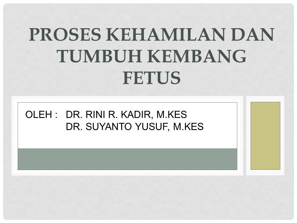 PROSES KEHAMILAN DAN TUMBUH KEMBANG FETUS OLEH : DR. RINI R. KADIR, M.KES DR. SUYANTO YUSUF, M.KES