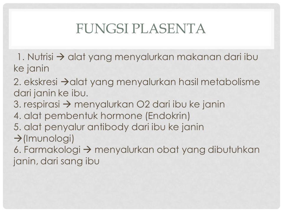 FUNGSI PLASENTA 1. Nutrisi  alat yang menyalurkan makanan dari ibu ke janin 2. ekskresi  alat yang menyalurkan hasil metabolisme dari janin ke ibu.