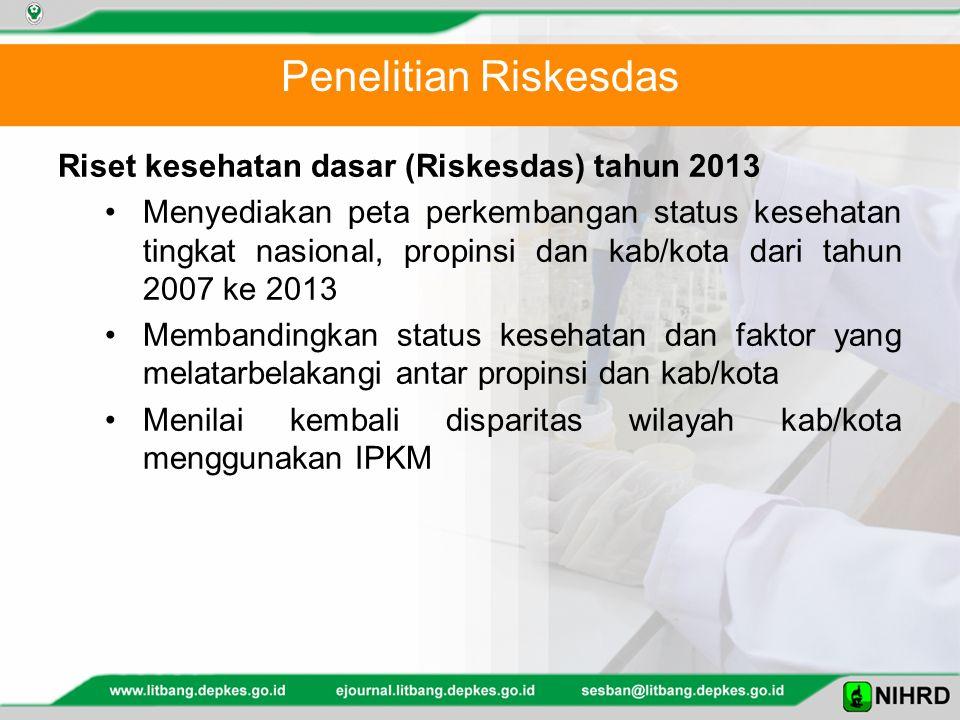 Penelitian Riskesdas Riset kesehatan dasar (Riskesdas) tahun 2013 Menyediakan peta perkembangan status kesehatan tingkat nasional, propinsi dan kab/ko