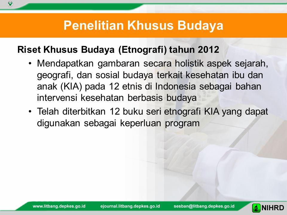 Penelitian Khusus Budaya Riset Khusus Budaya (Etnografi) tahun 2012 Mendapatkan gambaran secara holistik aspek sejarah, geografi, dan sosial budaya te