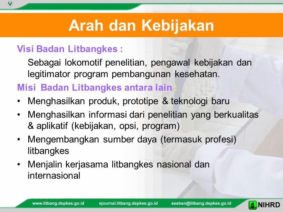 Arah dan Kebijakan Visi Badan Litbangkes : Sebagai lokomotif penelitian, pengawal kebijakan dan legitimator program pembangunan kesehatan.