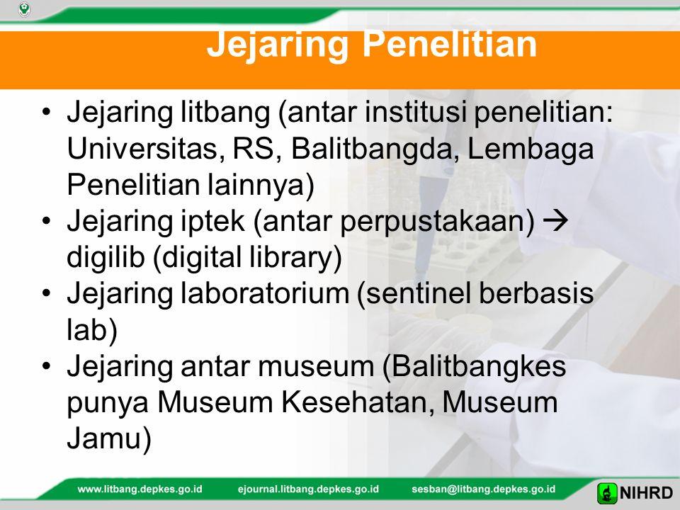 Jejaring Penelitian Jejaring litbang (antar institusi penelitian: Universitas, RS, Balitbangda, Lembaga Penelitian lainnya) Jejaring iptek (antar perp