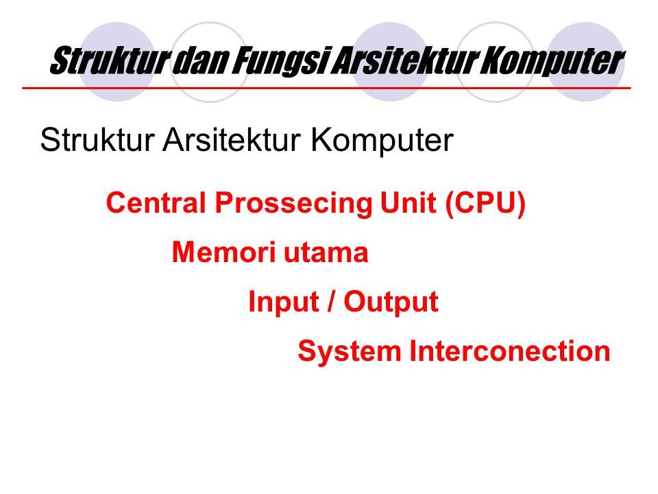 Struktur dan Fungsi Arsitektur Komputer Struktur Arsitektur Komputer Central Prossecing Unit (CPU) System Interconection Input / Output Memori utama