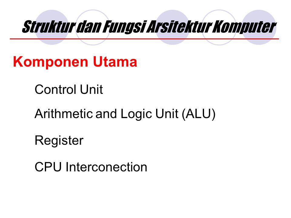 Struktur dan Fungsi Arsitektur Komputer Komponen Utama Control Unit Arithmetic and Logic Unit (ALU) CPU Interconection Register