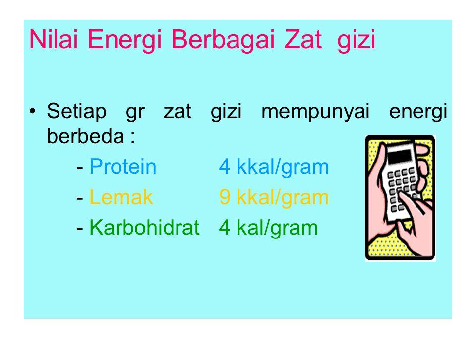 Nilai Energi Berbagai Zat gizi Setiap gr zat gizi mempunyai energi berbeda : - Protein 4 kkal/gram - Lemak 9 kkal/gram - Karbohidrat 4 kal/gram