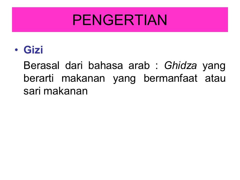 PENGERTIAN Gizi Berasal dari bahasa arab : Ghidza yang berarti makanan yang bermanfaat atau sari makanan