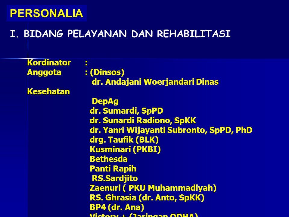 PERSONALIA I. BIDANG PELAYANAN DAN REHABILITASI Kordinator: Anggota: (Dinsos) dr. Andajani Woerjandari Dinas Kesehatan DepAg dr. Sumardi, SpPD dr. Sun