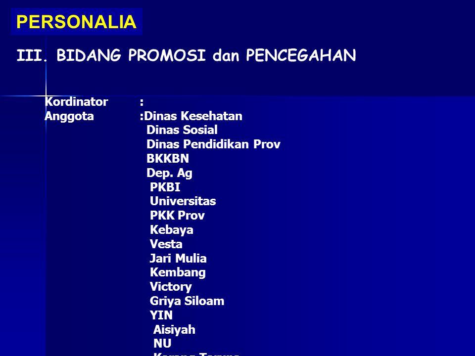 PERSONALIA III. BIDANG PROMOSI dan PENCEGAHAN Kordinator: Anggota:Dinas Kesehatan Dinas Sosial Dinas Pendidikan Prov BKKBN Dep. Ag PKBI Universitas PK