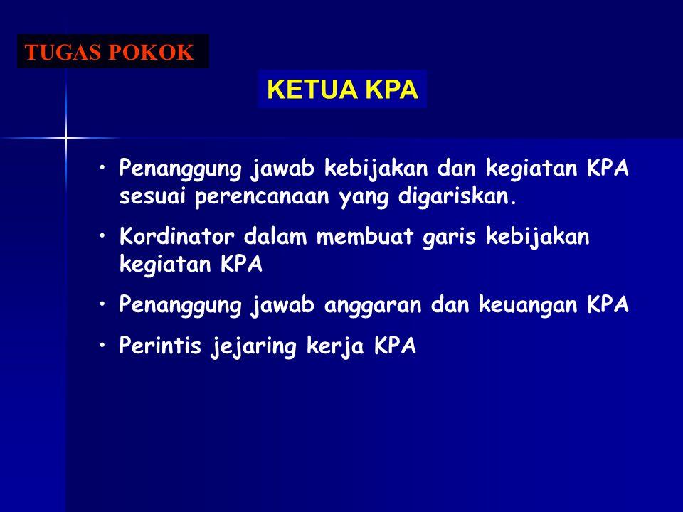 TUGAS POKOK KETUA KPA Penanggung jawab kebijakan dan kegiatan KPA sesuai perencanaan yang digariskan. Kordinator dalam membuat garis kebijakan kegiata