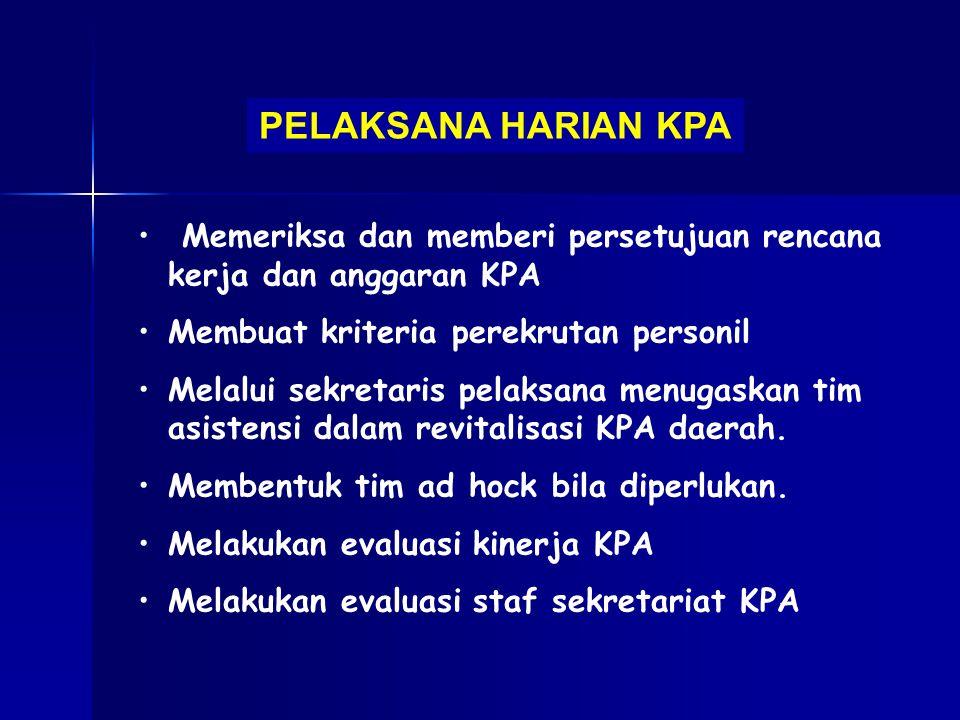 PELAKSANA HARIAN KPA Memeriksa dan memberi persetujuan rencana kerja dan anggaran KPA Membuat kriteria perekrutan personil Melalui sekretaris pelaksan