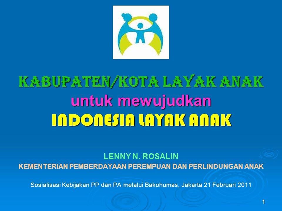 KABUPATEN/KOTA LAYAK ANAK untuk mewujudkan INDONESIA LAYAK ANAK LENNY N. ROSALIN KEMENTERIAN PEMBERDAYAAN PEREMPUAN DAN PERLINDUNGAN ANAK Sosialisasi