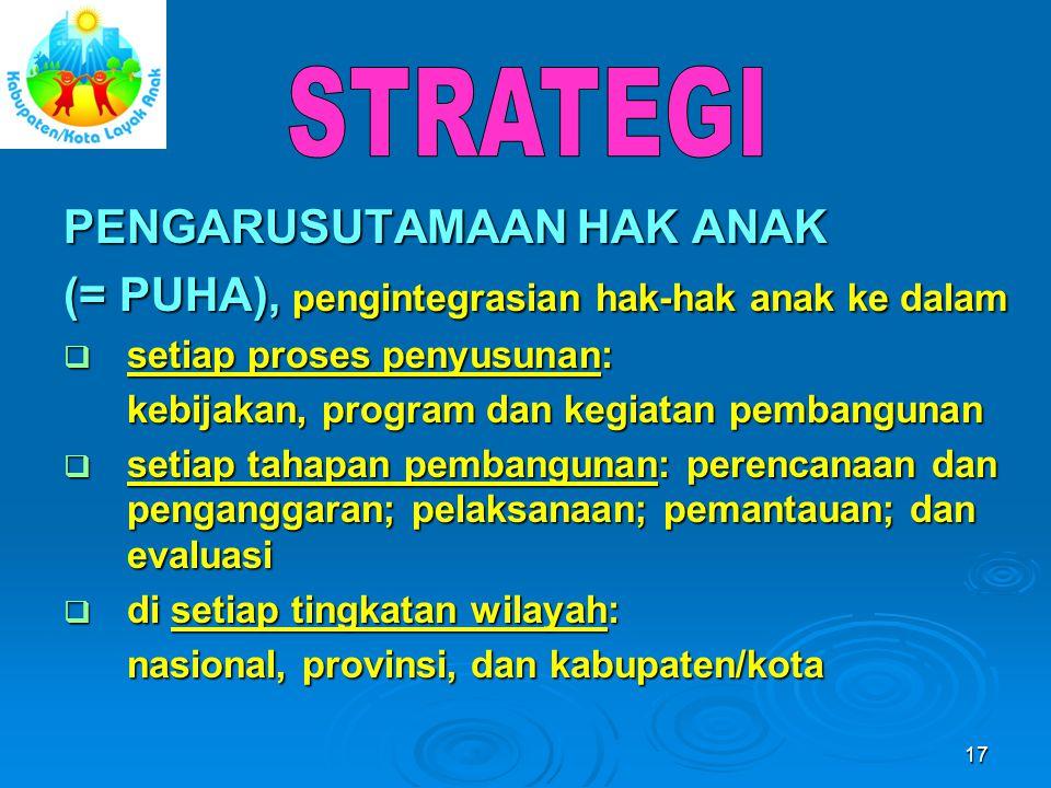 17 PENGARUSUTAMAAN HAK ANAK (= PUHA), pengintegrasian hak-hak anak ke dalam  setiap proses penyusunan: kebijakan, program dan kegiatan pembangunan 
