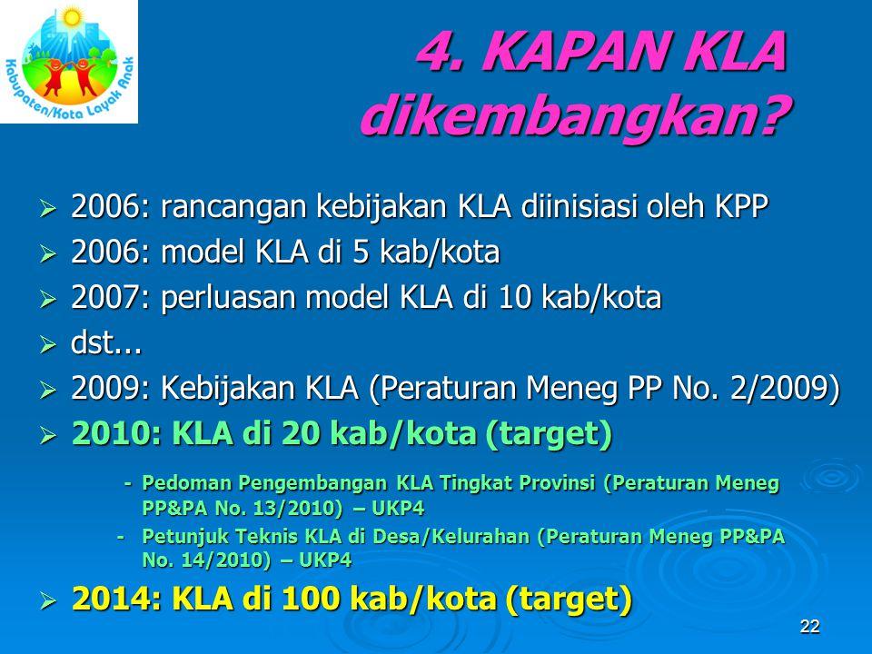 4. KAPAN KLA dikembangkan?  2006: rancangan kebijakan KLA diinisiasi oleh KPP  2006: model KLA di 5 kab/kota  2007: perluasan model KLA di 10 kab/k
