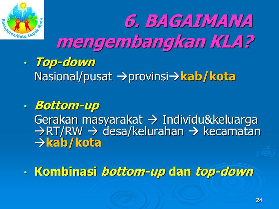 6. BAGAIMANA mengembangkan KLA? Top-down Top-down Nasional/pusat  provinsi  kab/kota Bottom-up Bottom-up Gerakan masyarakat  Individu&keluarga  RT