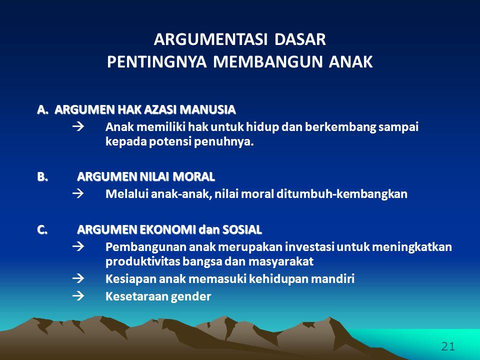 A. ARGUMEN HAK AZASI MANUSIA  Anak memiliki hak untuk hidup dan berkembang sampai kepada potensi penuhnya. B.ARGUMEN NILAI MORAL  Melalui anak-anak,