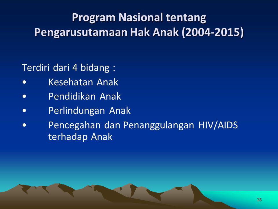 28 Program Nasional tentang Pengarusutamaan Hak Anak (2004-2015) Terdiri dari 4 bidang : Kesehatan Anak Pendidikan Anak Perlindungan Anak Pencegahan d