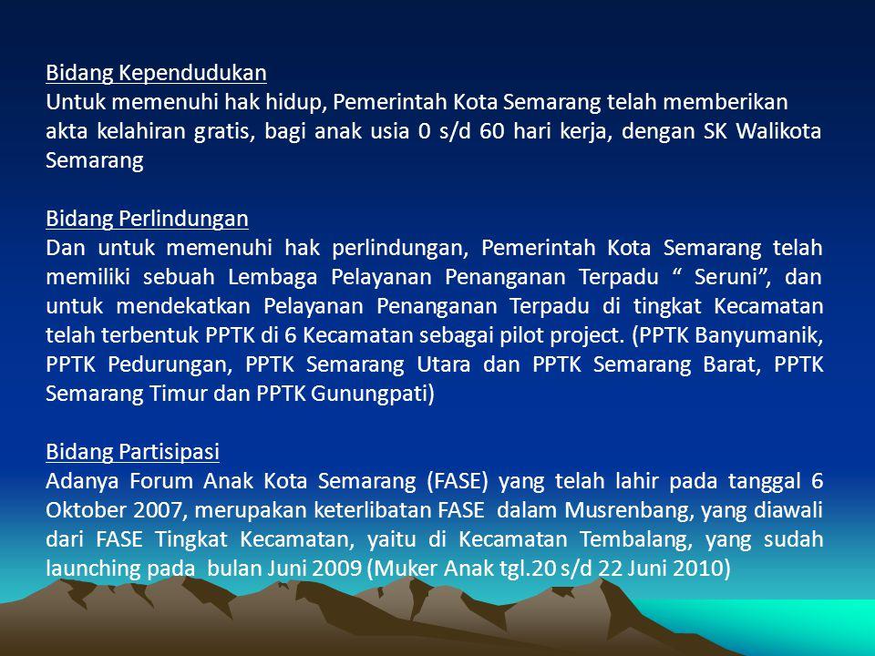 Bidang Kependudukan Untuk memenuhi hak hidup, Pemerintah Kota Semarang telah memberikan akta kelahiran gratis, bagi anak usia 0 s/d 60 hari kerja, den
