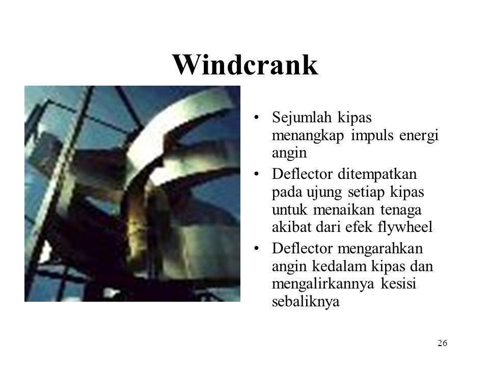 Windcrank Sejumlah kipas menangkap impuls energi angin Deflector ditempatkan pada ujung setiap kipas untuk menaikan tenaga akibat dari efek flywheel D